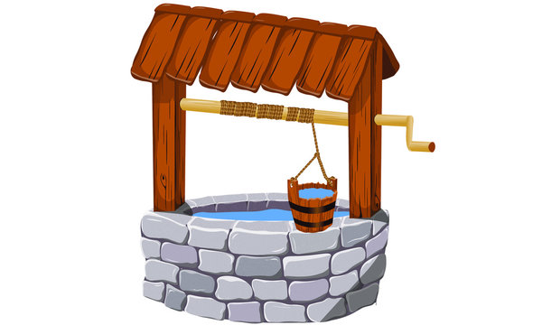 middle age, fairy tale draw well with water and crank, bucket and rope