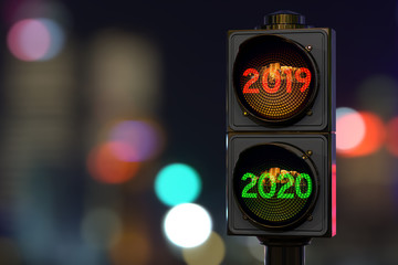 Traffic light with green light 2020 in the night city, 3D rendering