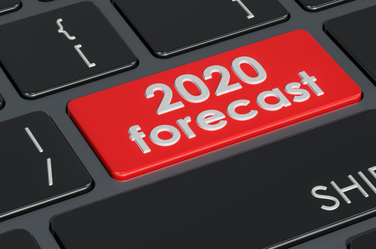 2020 forecast button on keyboard, 3D rendering
