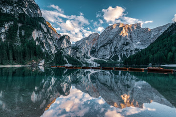 Panoramic view of the Dolomites in autumn,  Lake Prags.