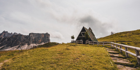 Old mountain chapel in the Dolomites, Giau Pass.