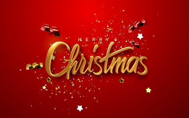 Merry Christmas. Vector 3d illustration. Festive golden lettering on red background with confetti particles, tinsel, streamers, stars. Festive banner design. Christian religious event sign