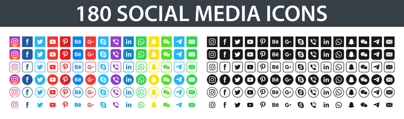 180 social media icons. Facebook, instagram, twitter, youtube, pinterest, behance, google, skype, viber, whatsap, linkedin, telegram, wechat. Editorial vector. Vinnitsa, Ukraine - November 18, 2019