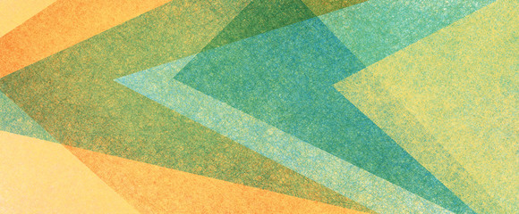 Wall Mural - Abstract modern background in blue green and orange colors and contemporary triangle square and block shapes layered in random geometric art pattern with fine texture