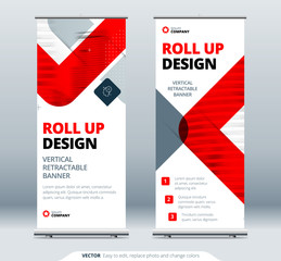 Business Roll Up Banner Stand. Abstract Roll up background for Presentation. Vertical roll up, x-stand, x-banner, exhibition retractable banner stand or flag layout. Poster for conference, forum