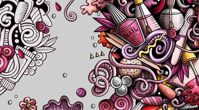 Nail salon hand drawn doodle banner. Cartoon detailed illustrations.