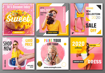 Social Media Post Layout Set with Pink and Yellow Accents