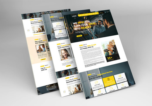 Business Website Layout with Yellow Accents