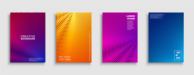 Creative colorful minimalistic covers, templates, posters, placards, brochures, banners, flyers and etc. Abstract geometric halftone backgrounds with gradient. Digital striped tredny design Wall mural