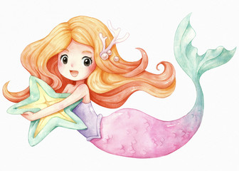 Little Mermaid character cartoon watercolor illustration, Orange hair, Pink green tail, She hugged a starfish pillow, isolated on white texture watercolor paper.