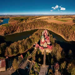 Panoramic view on Czocha Castle, Poland. Drone photography.