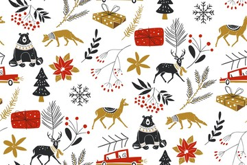 Animals winter Vector seamless pattern with the traditional Christmas floral elements. Perfect for greeting cards, wallpaper, gift paper, web page background, winter decorations.