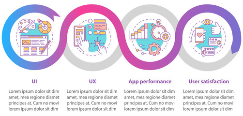 Application development vector infographic template. Business presentation design elements. Data visualization with four steps and options. Process timeline chart. Workflow layout with linear icons Wall mural