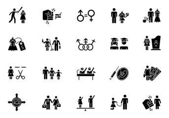 Gender equality glyph icons set. Woman, man right. Sexual slavery. Female economic activity. Transgender people. Employment, politics. Family planning. Silhouette symbols. Vector isolated illustration
