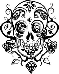 Foto auf Leinwand Aquarell Schädel crâne floral latino