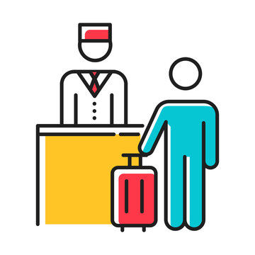 Hospitality industry color icon. Customer with suitcase. Tourist. Receptionist, concierge. Hotel management services. Reservation, checkout desk. Tourism business. Isolated vector illustration