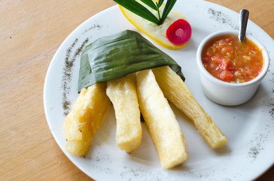 fried cassava accompanied by stew
