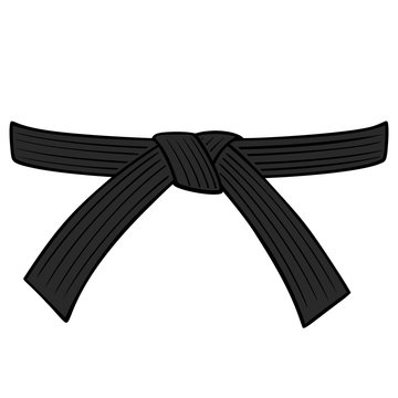 Black Belt - A cartoon illustration of a Karate Black Belt.
