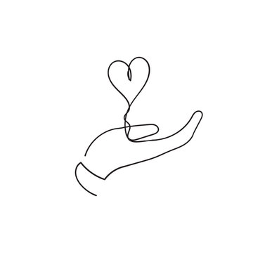 Heart in hand, a symbol of love. Vector illustration EPS10.single line concept with doodle style