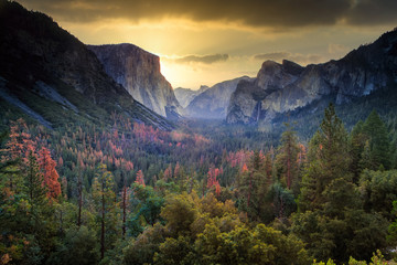 Famous Tunnel View in Yosemite National Park, California, USA at Sunrise