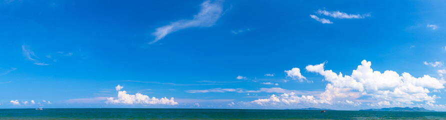 Panoramic seascape with blue sky and cloud