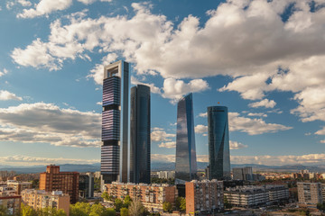 Printed roller blinds Madrid Madrid Spain, sunset city skyline at financial district center with four towers