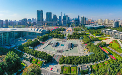 Aerial scenery at Century Square in Shanghai, China