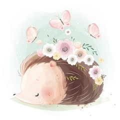 Cute Hedgehog with Flower Nest on His Body