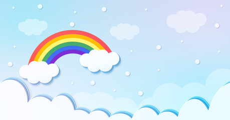 Festival pattern Abstract kawaii clouds cartoon on rainbow blue sky with snow background. Concept for children and kindergartens or presentation and christmas day