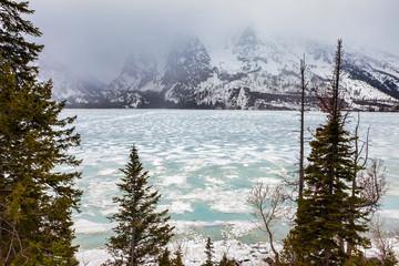 Frozen Lake in Grand Teton National Park, Wyoming, USA
