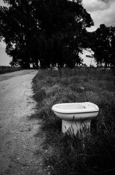 Black and white photo of random funny isolated toilet bowl placed by the gravel road on the Saint James way to Santiago de Compostela, Seville, Spain