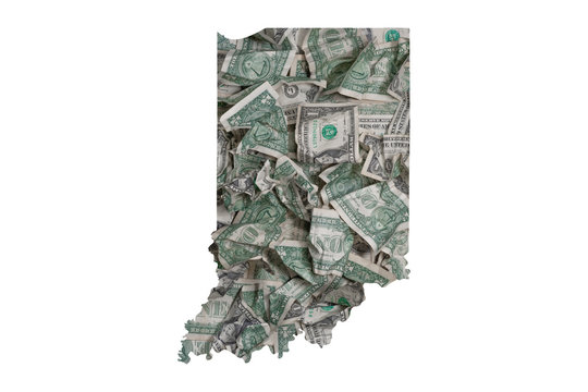 Indiana State Map Outline with Crumpled Dollars, Government Waste of Money Concept