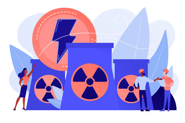 Engineers working at nuclear power plant reactors releasing energy. Nuclear energy, nuclear power plant, sustainable energy source concept. Pinkish coral bluevector isolated illustration