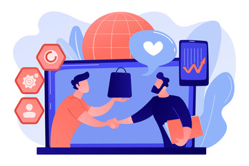 service client crise Manager shakes hands with customer, strategy for interactions with client. Customer relationship management, CRM system, CRM lead management concept. Pink coral blue vector isolated illustration
