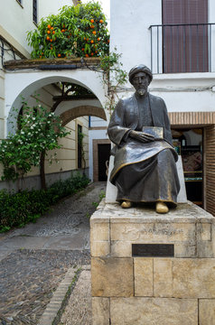 Cordoba, Spain - Apr 10 2019: Bronze statue of Maimonides (1135 - 1204), Jewish rabbi, physician and philosopher in Al Andalus