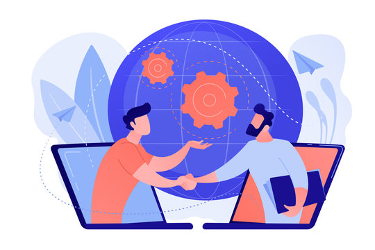 Businessmen shaking hands through laptop screens as online business, conference, meeting, network, deal, negotiations, agreement concept, pinkish coral blue palette. Vector illustration on white