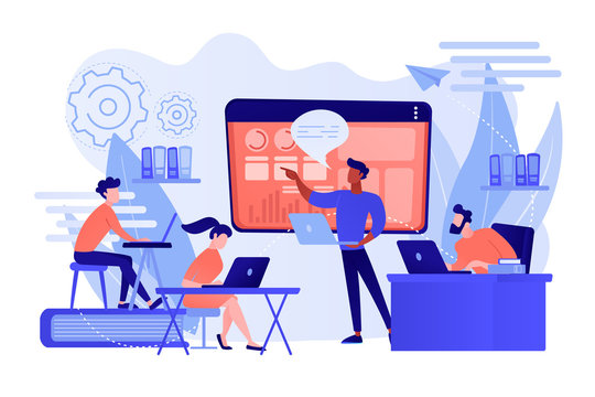 Business team with laptops look at digital presentation with charts. Digital presentation, office online meeting, visual data representation concept. Pinkish coral bluevector isolated illustration