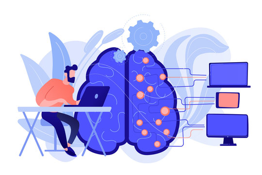 Brain with digital circuit and programmer with laptop. Machine learning, artificial intelligence, digital brain and artificial thinking process concept. Vector isolated illustration.