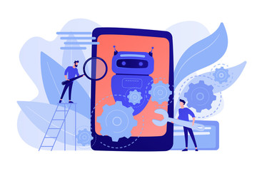 Wall Mural - Developers with wrench work on chatbot application development. Chatbot app development, bot development framework, chatbot programming concept. Pinkish coral bluevector isolated illustration