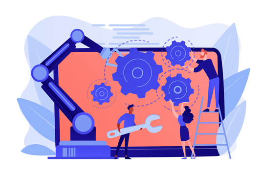 Humans and cobot robotic arm collaborate at laptop fixing gears. Collaborative robotics, cobot automatization, safe industry solutions concept. Pinkish coral bluevector isolated illustration