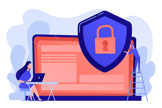 Tiny people businessman with shield protecting data on laptop. Data privacy, information privacy regulation, personal data protection concept. Pinkish coral bluevector isolated illustration