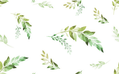 Watercolor seamless pattern. Green spring leaves on white background.