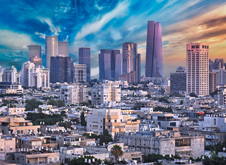 Fototapete - Amazing Cityscape with Epic Sky in Tel Aviv, Israel