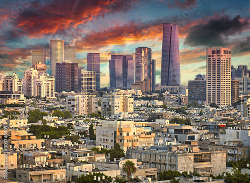 Wall mural Amazing Cityscape with Epic Sky in Tel Aviv, Israel