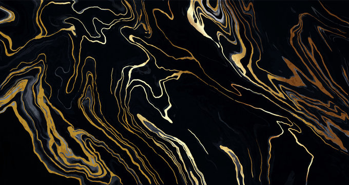 Luxury Black and Gold Marble texture background vector. Panoramic Marbling texture design for Banner, invitation, wallpaper, headers, website, print ads, packaging design template.