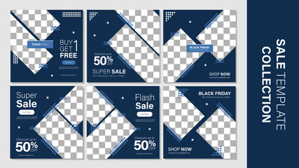 Sale template collection for promotion sale. Editable banner for social media post, web and internet. Black friday or cyber monday event