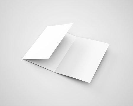 A4 Three Fold Trifold Brochure White Blank Mockup