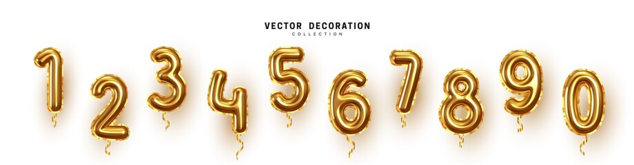 Golden Number Balloons 0 to 9. Foil and latex balloons. Helium ballons. Party, birthday, celebrate anniversary and wedding. Realistic design elements. Festive set isolated. vector illustration Fototapete