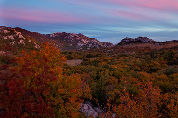 Spoed Foto op Canvas Grijze traf. Autumn twilight on Velebit mountain, Croatia