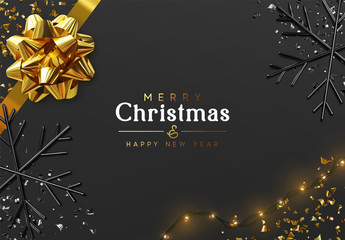 Fototapete - Merry Christmas and Happy New Year. Dark background with golden realistic magnificent gif bow, light yellow bulb garlands, glitter gold confetti, 3d render black snowflakes. Night Xmas design.